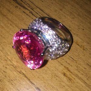 🌷pink quartz white sapphire sterling silver ring